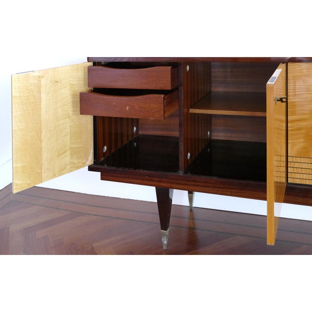 Ameublement Nf Mahogany and Satinwood Credenza With Brass Hardware From France For Sale - Image 9 of 13