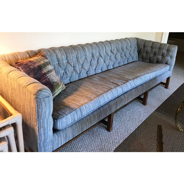 Vintage Gray Tufted Sofa & Pillow - Image 2 of 7