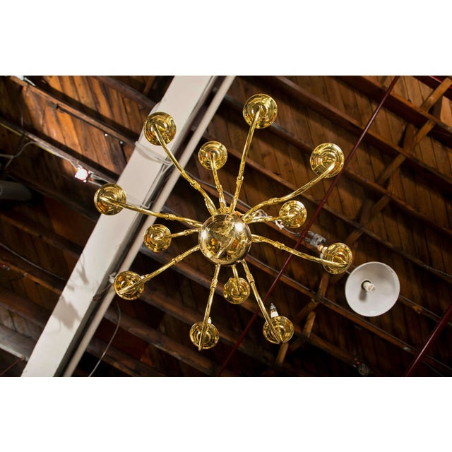 English Traditional Twelve Light Brass Ball Form Chandelier For Sale - Image 3 of 8