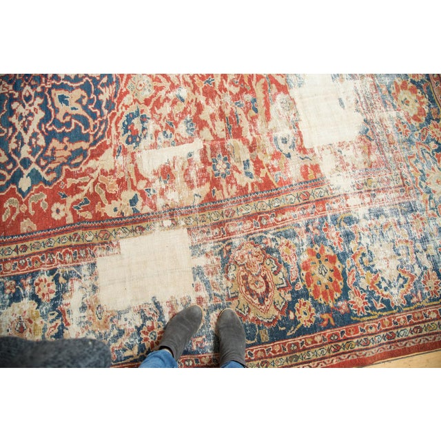 "Blue Antique Distressed Ziegler Sultanabad Carpet - 9'9"" X 13'3"" For Sale - Image 8 of 10"