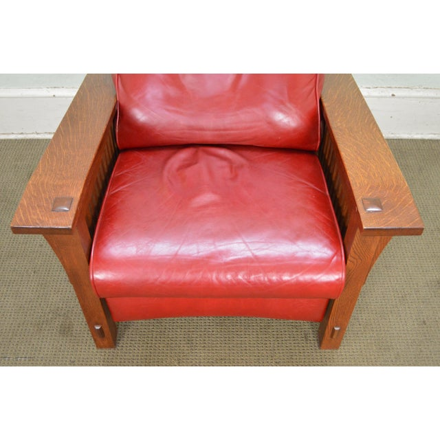 Stickley Mission Collection Oak Spindle Morris Red Leather Recliner ...