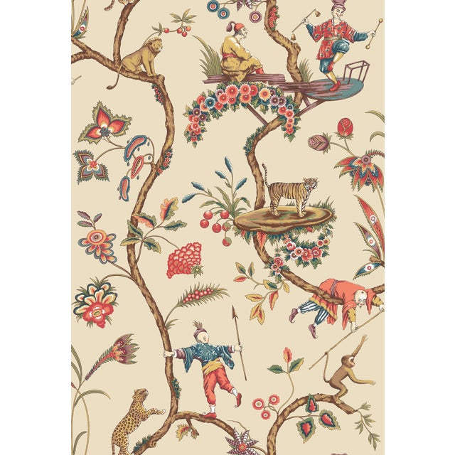 Red by Scalamandre Peel & Stick Wallpaper, Chinoise Exotique, Ecru For Sale