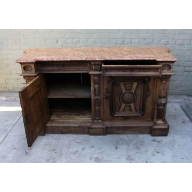 Italian Walnut & Marble Top Credenza - Image 6 of 10