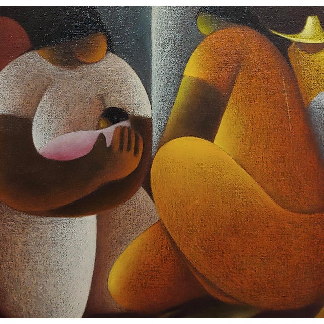 Victor Manuel Cancino -Family With Child-Mexican Cubist-Oil Painting For Sale - Image 4 of 9