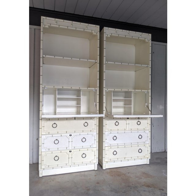 Drexel Kensington Faux Bamboo Secretary Cabinets, a Pair For Sale - Image 9 of 12