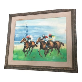 """Jockeys Riding"" Signed Oil Painting For Sale"