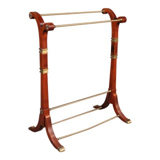 Belgium Directoire Style Solid Mahogany and Brass Towel or Clothing Butler Rack For Sale