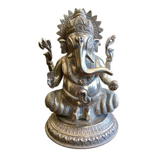 19th Century Vintage Sterling Silver Ganesh Figurine For Sale