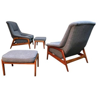 "Folke Ohlsson for Dux ""Profil"" Lounge Chair With Ottoman-A Pair For Sale"