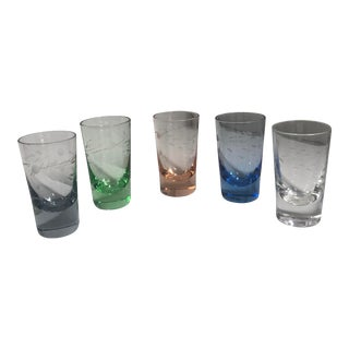 Vintage 1940s Etched Glass Cordial Glasses - Set of 5 For Sale