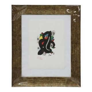 """1980s """"La Melodie Acide"""" Modernist Lithograph After Joan Miró, Framed For Sale"""