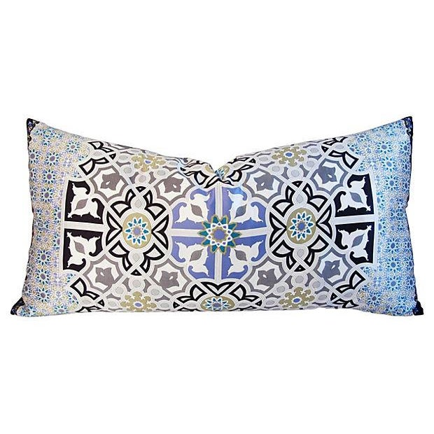 Large custom-made Italian 100% silk pillow with a stunning rich Andalusian Moorish design in white, black, periwinkle,...