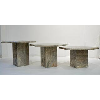 1970s Vintage Italian Geometric White Gray and Red Vein Marble Nesting Tables - Set of 3 Preview