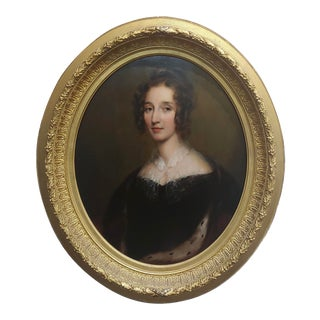 George Healy - Portrait of a Beautiful Aristocratic Lady-19th Century Oil Painting For Sale