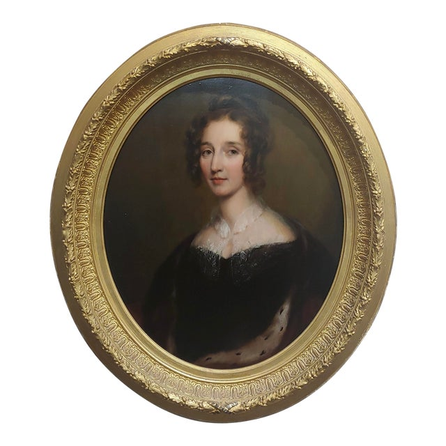 "George Healy ""Portrait of a Beautiful Aristocratic Lady"" Oil Painting, 19th Century For Sale"