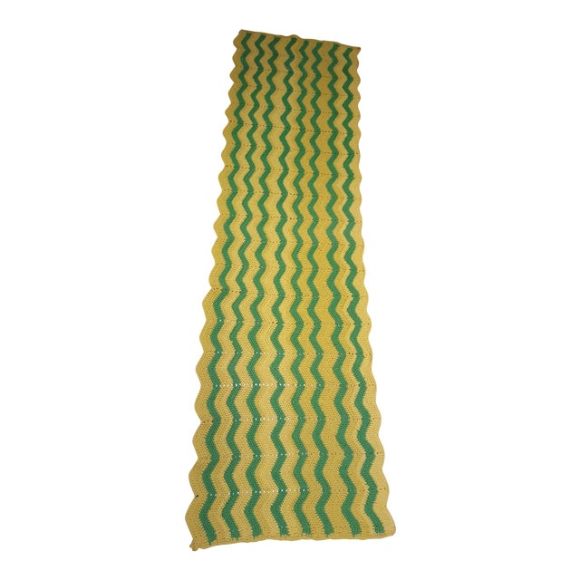 Vintage Handmade Crocheted Green/Yellow Striped Afghan Throw Blanket - Image 1 of 7
