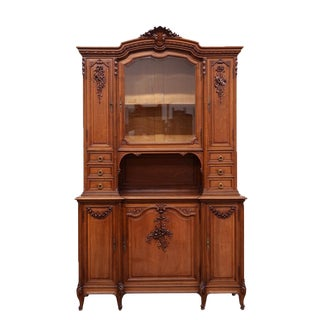 1900s French Louis XVI Walnut Buffet Cabinet For Sale