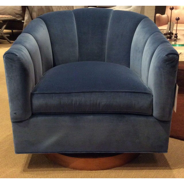 Lady Swivel Chair with blue fabric & light walnut by Hickory Chair from Hable collection. Original retail price: $4,737