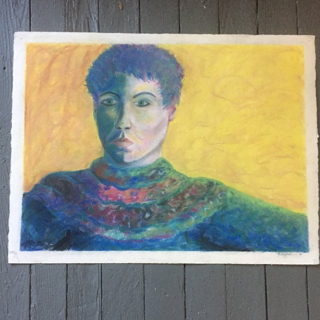 Drawing/Sketching Materials Vintage Original Pastel Female Portrait Campbell For Sale - Image 7 of 7