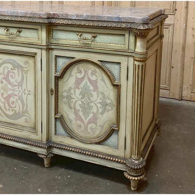 Antique Italian Marble Top Painted Buffet For Sale In Dallas - Image 6 of 13