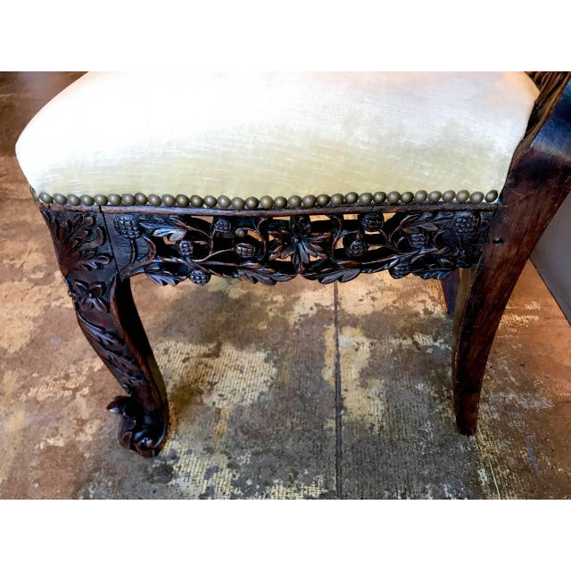 Anglo-Indian Carved Rosewood Side Chair Raj Period For Sale - Image 4 of 7