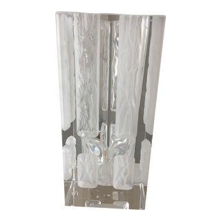 """Vintage Hoya """"Winter Windows"""" Crystal Etched Vase"""