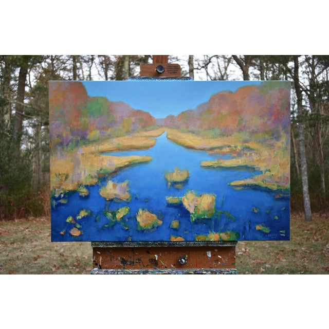 """Contemporary Contemporary Landscape Painting by Stephen Remick """"Autumn at the Marsh"""" For Sale - Image 3 of 13"""
