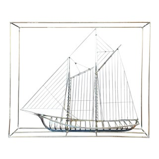 Curtis Jeré Metal Clipper Ship Sculpture in a Box, Signed For Sale