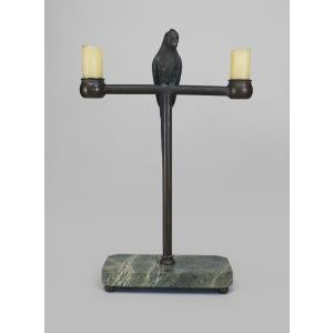 Late 19th Century American Bronze Life Size Parrot Perched on a Stand Centering 2 Candle Holders Preview