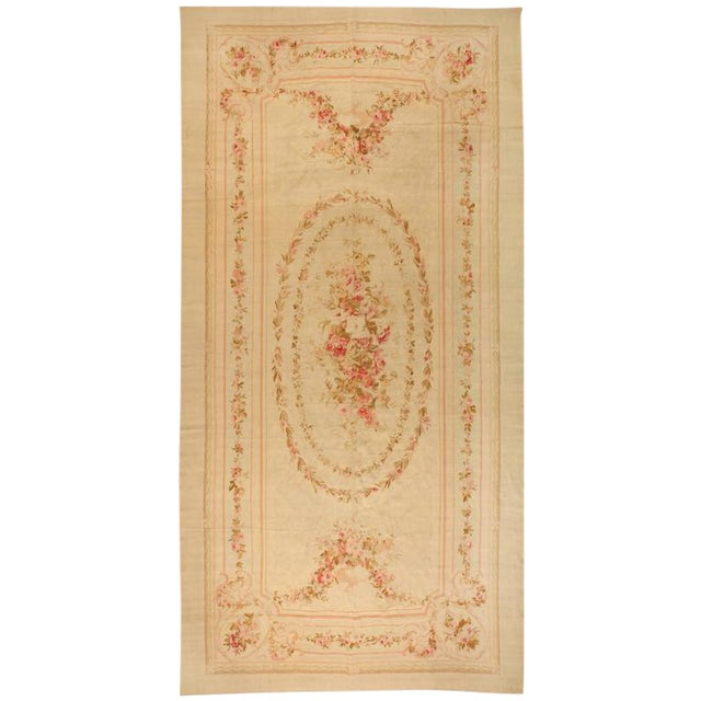 Antique Extremely Finely Woven 19th Century Aubusson Carpet For Sale