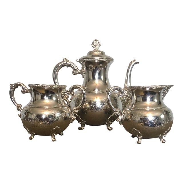 19th Century Victorian Homan Silver Co. Silver Plated Coffee Service - 3 Pieces For Sale