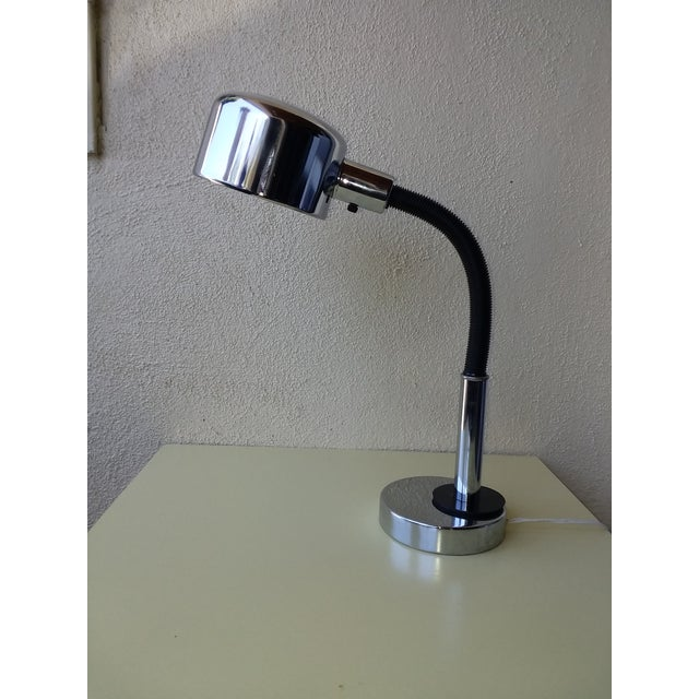 Black 1970's Space Age Chrome Desk Lamp For Sale - Image 8 of 8