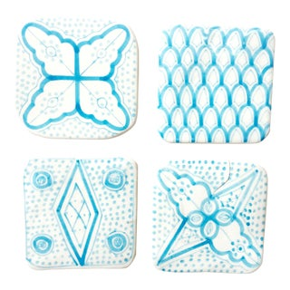 Moroccan Porcelain Coasters, Set of 4 Turquoise For Sale