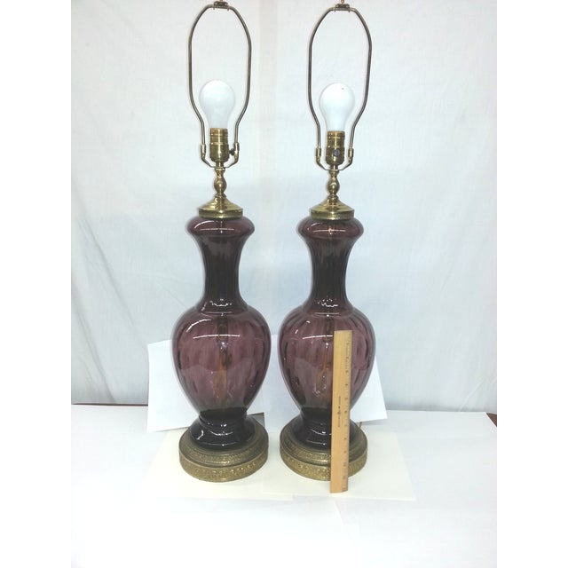 Amethyst Blown Glass Mid-Century Lamps - Pair - Image 4 of 4