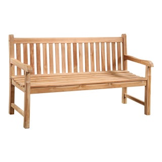 Teak Slatted Outdoor Bench For Sale