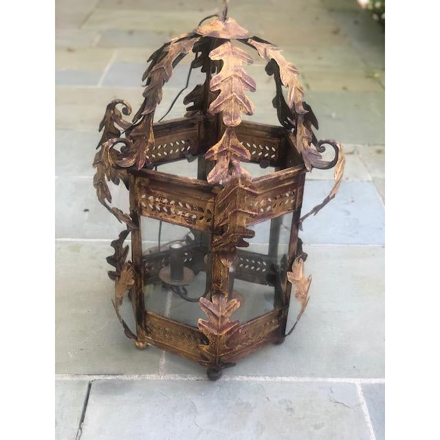 Transitional Two Worlds Arts Custom Large Scale Gilt Tole Chandelier/Hall Lantern For Sale - Image 3 of 13