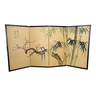 Vintage Chinese Silk Handpainted Folding Screen