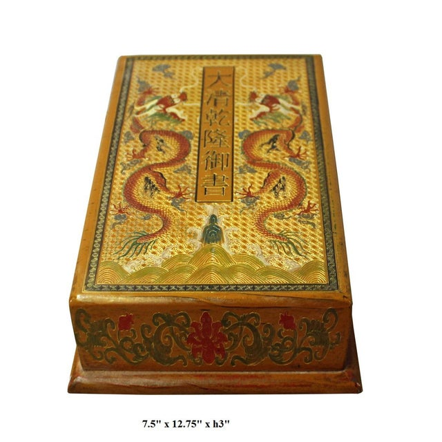 Chinese Golden Orange Yellow Dragon Graphic Rectangular Box For Sale In San Francisco - Image 6 of 6