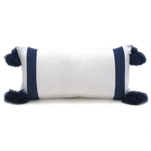 Boho Chic White and Blue Cotton Pillow For Sale In Los Angeles - Image 6 of 7