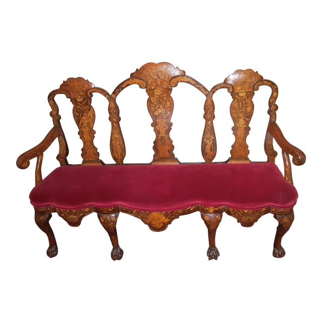 Early 18th Century Bench Setee Dutch Marquetry Settee For Sale