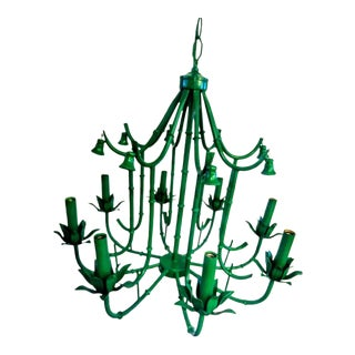 Palm Beach Regency Vintage Kelly Green Bell Faux Bamboo 8 Light Chandelier For Sale