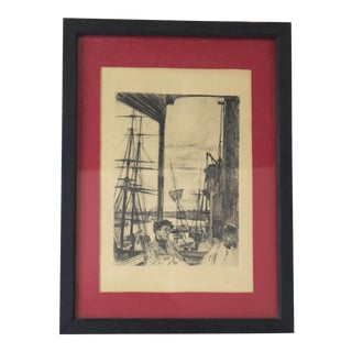 James Abbott McNeill Whistler Original Etching Print. 1860s Antique For Sale