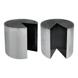 Pace Collection Stainless Steel and Granite Side Tables- a Pair