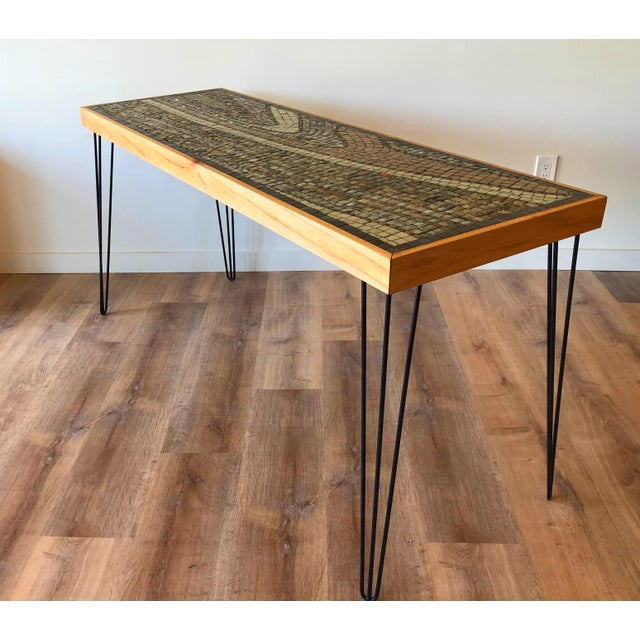 Wood framed ceramic tile sofa table / bar / entryway table with various colors in the pattern. Vintage hairpin legs have...