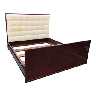 Superb J Robert Scott White Leather Oversized King Bed For Sale