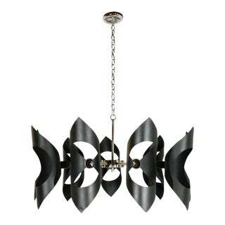1970s Modern Black and Chrome Chandelier For Sale