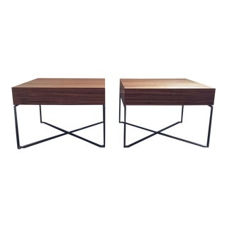 Zebra Wood and Chrome Side Tables - a Pair