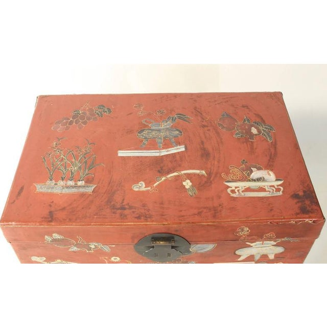 Hand-Painted Chinese Trunk on Stand - Image 6 of 8