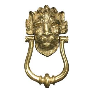 Vintage Brass Lionhead Door Knocker For Sale