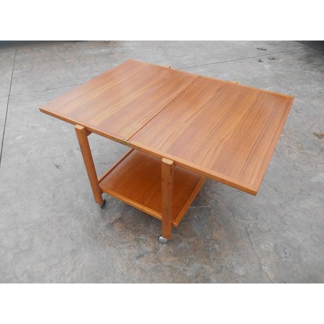 1960s 1960s Danish Modern Flip Top Teak Serving Cart / Table For Sale - Image 5 of 7